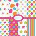 Set of baby patterns kid seamless Stock Images