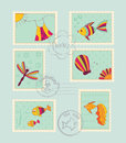 Set of baby post stamps Stock Photo