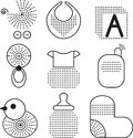 Set of baby s symbols the black Stock Photography