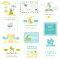 Set of Baby Shower and Arrival Cards Royalty Free Stock Photo