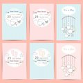 Set of Baby shower boy and girl invitation cards