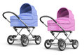 Set of baby stroller  on white background. 3d render ima Royalty Free Stock Photo