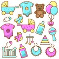 Set of baby tools and baby shower elements for boys and girls with cute design
