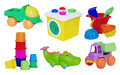 Set of baby toys on white background Royalty Free Stock Images