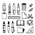 Set of Back to School and Office Stationery Object Icon Black Vector