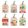 Set of Back to school tags on craft paper Royalty Free Stock Photo