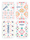 Set of background with geometric ethnic ornament. ethno abstract templates with place for text.