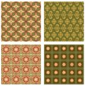 Set of background tiles in art deco style with simple geometric patterns in beige, red and green nostalgic color shade