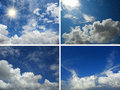 Set of backgrounds with blue sky and clouds sun for your design Stock Photo