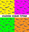 A set of backgrounds for the holiday Halloween, bat, an editable file, four colors, seamless. Royalty Free Stock Photo
