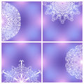 Set of backgrounds with lacy patterns four symmetric ornaments line art doodles fragile elements on vivid colorful square copy Stock Image