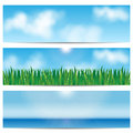 Set backgrounds nature blue sky and green grass eco design Royalty Free Stock Photos
