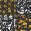Set of backgrounds seamless emblems of skulls the vector image Royalty Free Stock Photography