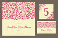 Set backgrounds to celebrate the wedding invitation card table number guest card vector illustration pink stylized elements of Royalty Free Stock Image