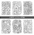 Set of backgrounds in vector with doodles, flowers and paisley. For wallpaper, pattern fills, coloring books. Black and white.