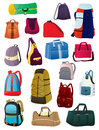 Set of backpacks and bags isolated on white background Stock Photos