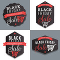 Set of badges, banner, labels for black Friday sale and discount template. Design elements.