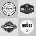 Set of badges, banner, labels and logo for food restaurant, catering. Simple and minimal design.