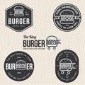 Set of badges, banner, labels and logo for hamburger, burger shop. Simple and minimal design.