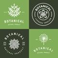 Set of badges, banner, labels and logos for botanical natural product, shop. Leaf logo, flower logo. Linear outline stroke design.