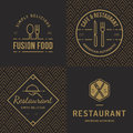 Set of badges, banner, labels and logos for food restaurant, foods shop and catering with seamless pattern.