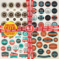 Set of badges and elements for sale and premium qu labels banners stickers quality amazing offer in package Stock Images