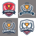 Set of badges, emblem and logos for Champion sports league with trophy.