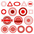 Set of badges labels and stickers without text in red colour Royalty Free Stock Images