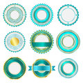 Set of badges, labels and stickers without text in turquoise Royalty Free Stock Photo