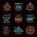Set of badges in thin line style trendy graphics design for t shirt bright colors on black background Royalty Free Stock Images