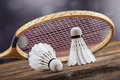 A set of badminton paddle and the shuttlecock studio shot Royalty Free Stock Photos