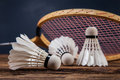 A set of badminton paddle and the shuttlecock studio shot Stock Images