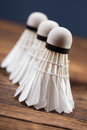 A set of badminton paddle and the shuttlecock studio shot Royalty Free Stock Photo