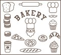 Set of bakery flat elements isolated - baker person, chef`s hat, moustache, bread, baguette, loaf, rolling pin, cake, macarons,cro