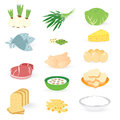Set bakery vegetable and meat on white background this is Royalty Free Stock Images
