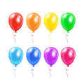 Set of balloons with bow colored isolated on a white background illustration Stock Photography