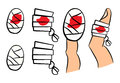 Set of bandage with red blood puddle. Medical equipment in different shapes single and on finger. Vector illustration on