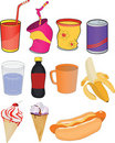 Set banks drinks and products Royalty Free Stock Photos