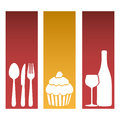 set banner frames with silhouettes cupcake and culinary elements Royalty Free Stock Photo