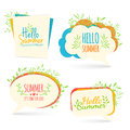 Set banner, logo, sticker, bubble with Hello summer. Royalty Free Stock Photo