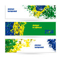 Set of banners abstract background, the colors of the Brazilian flag Royalty Free Stock Photo
