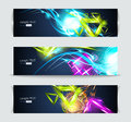 Set of banners and abstract headers with shadows Royalty Free Stock Image