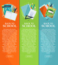 Set of banners back to school with stationery, folders, books and notebooks with place for your text. Vector Royalty Free Stock Photo