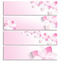 Set of banners with blossoming sakura pink