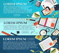 Set of banners on business, planning and training with place for your text. Vector Royalty Free Stock Photo