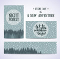 Set of banners and cards with night sky with stars and forest. Vector hand drawn illustration.