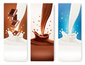 Set of banners with chocolate and milk splashes. Royalty Free Stock Photo