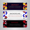 Set banners collection with abstract polygonal mosaic backgrounds. Geometric Hexagons patterns, vector illustration. Royalty Free Stock Photo