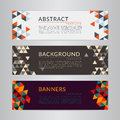 Set banners collection with abstract soft color polygonal mosaic backgrounds.