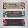 Set banners collection with abstract soft color polygonal mosaic backgrounds. Geometric triangular patterns, vector illustration. Royalty Free Stock Photo